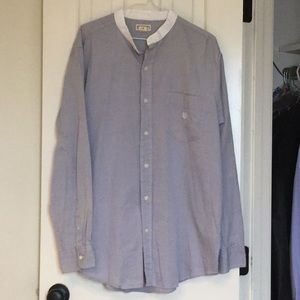 Collarless soft gray button down shirt